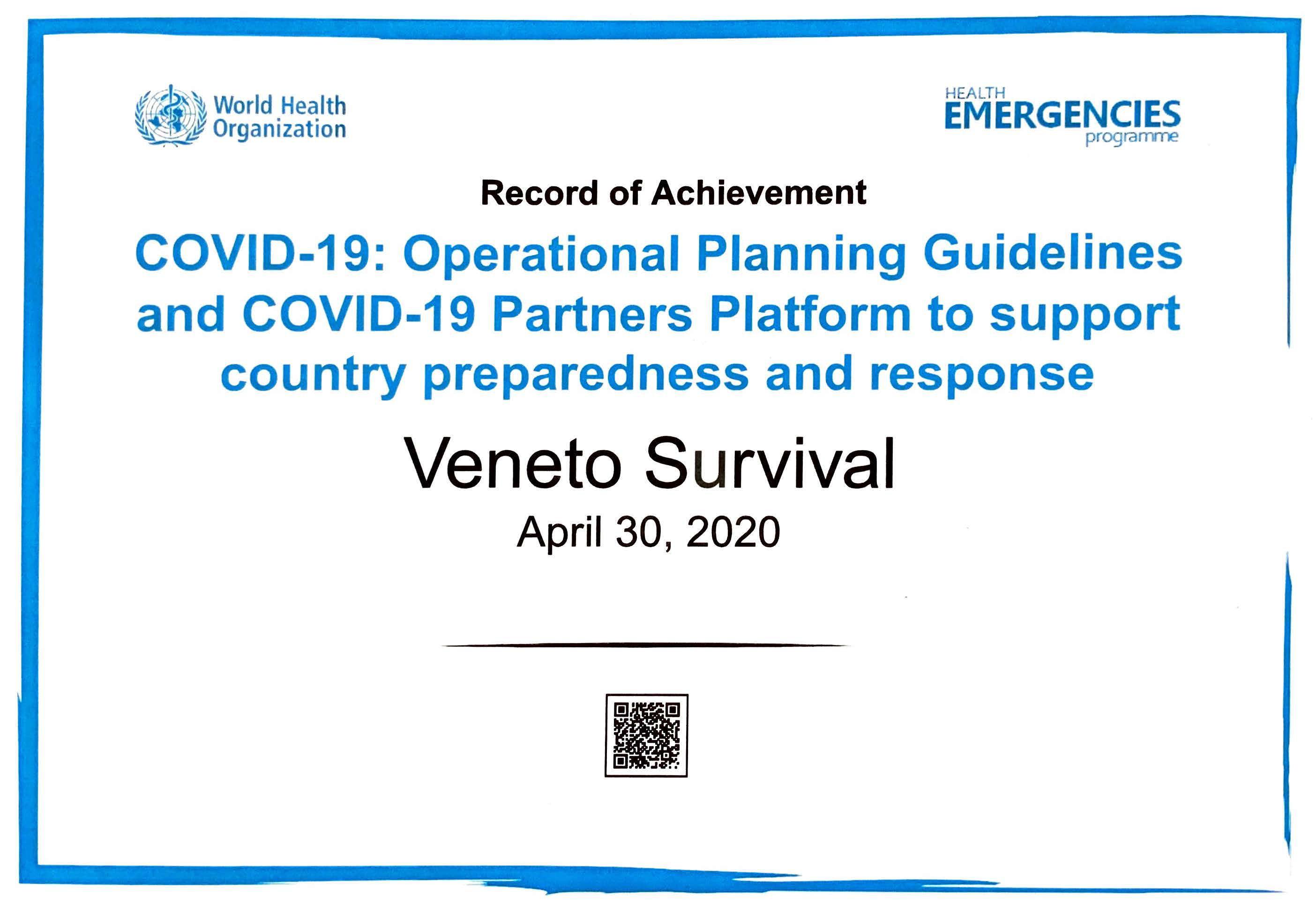 Attestato World Health Organization per Corso su Covid-19