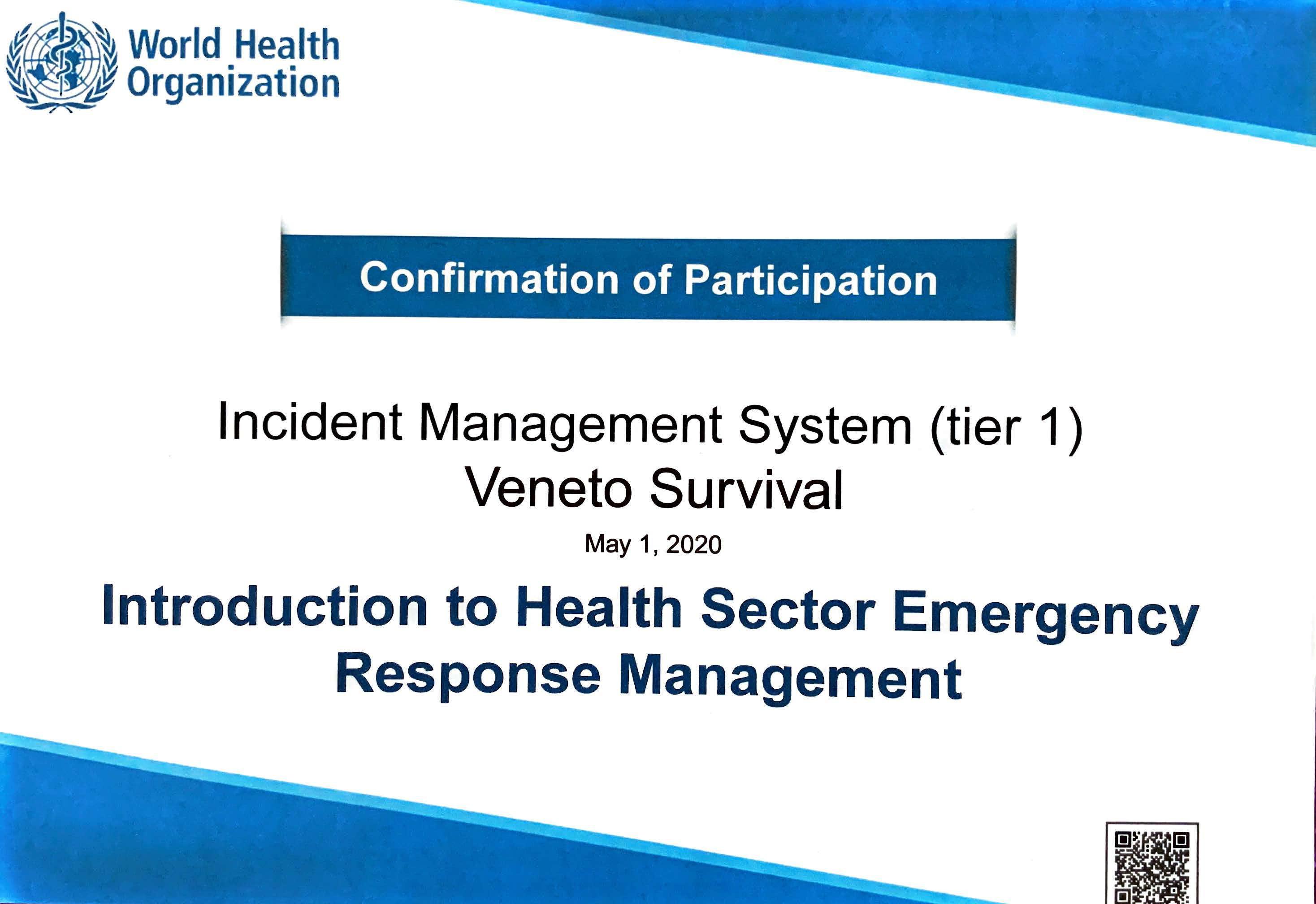 Attestato sul sistema di gestione degli incidenti
