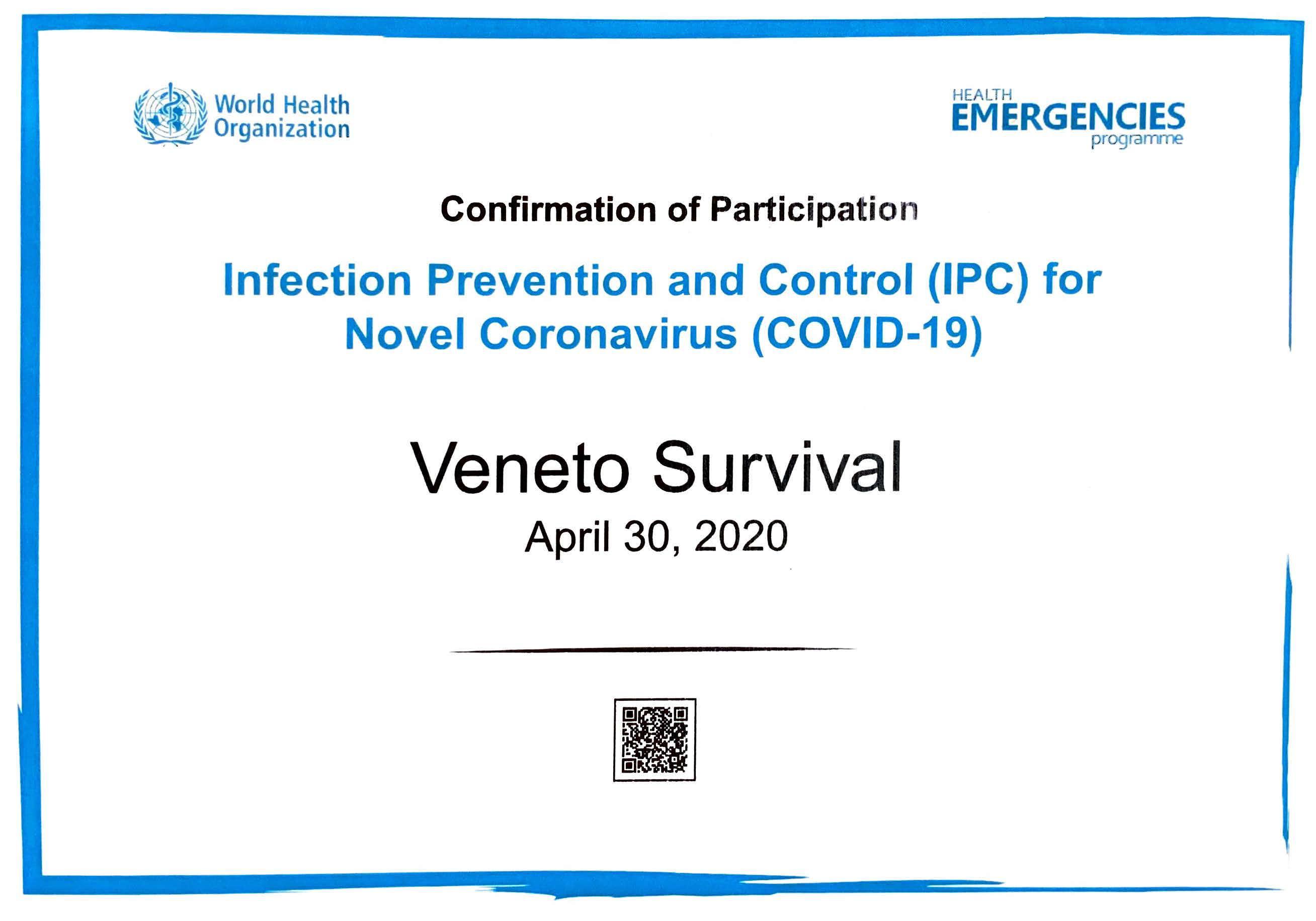 Attestato sul controllo e sulla prevenzione delle infezioni Covid-19